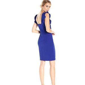 Calvin Klein Sheath Dress Flutter Sleeve Low Back